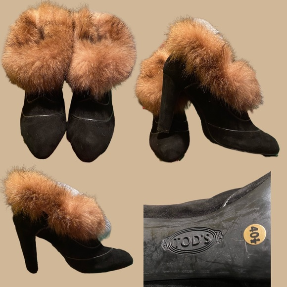 Vintage Tod's Furry Ankle Boot - 9.5